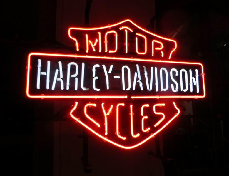 "Neon Display ""Harley Davidson"" Motor CycleH51xB65xT15cm"